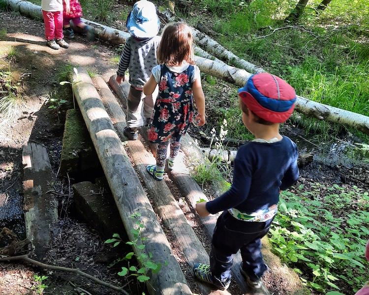 Kinder balancieren über Holzstämme über den Fluss