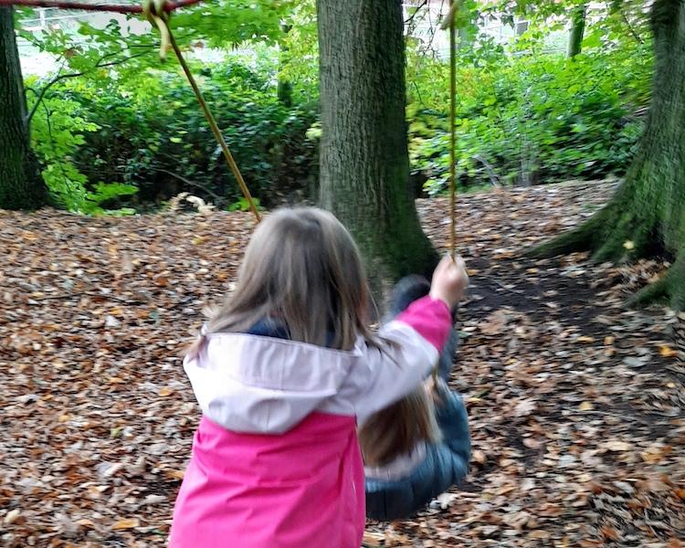 Schaukeln, Wald, Seile, Balance