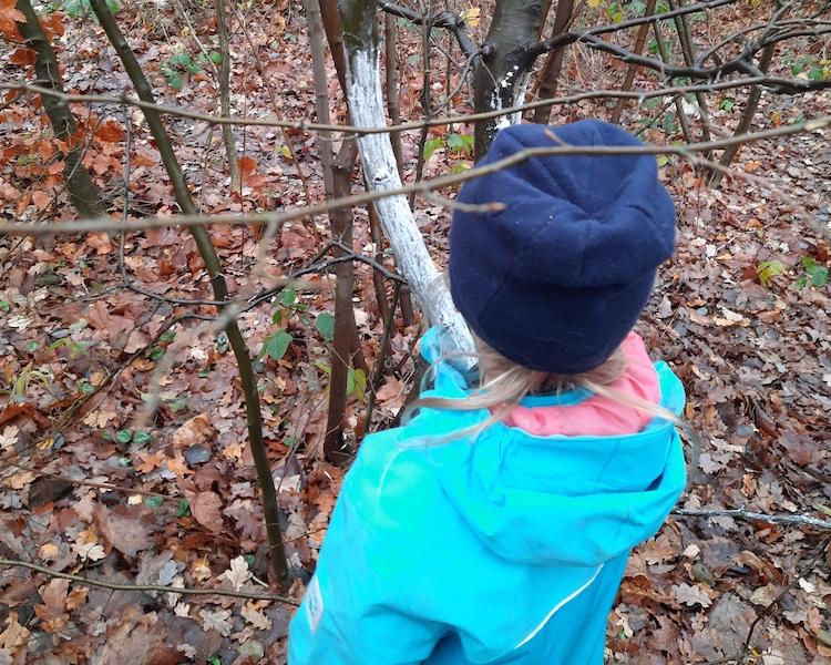 Kind streicht Baum, Zimmer